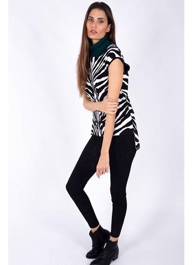 Peraluna Peraluna Balıkçı Yaka Siyah Beyaz Zebra Desenli Kadın Triko Bluz Siyah